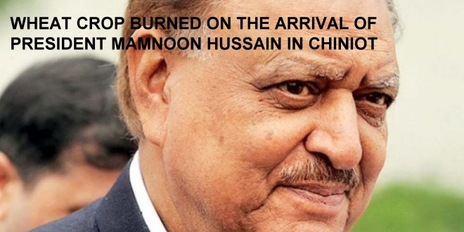 Wheat crop Burned on the Arrival of President Mamnoon Hussain in Chiniot